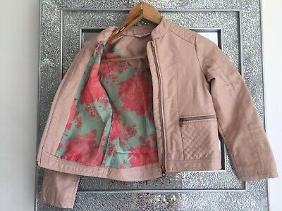 Girls TED BAKER pink leather look jacket coat age 9 years.