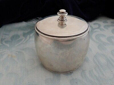 Heavy Mid-Cen Sterling Silver 1945 Table Tea Caddy, Simple style, estate find