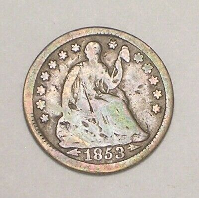 1853 Seated Liberty Half 1/2 Dime 5 Cents w/Arrows Silver Coin Bent