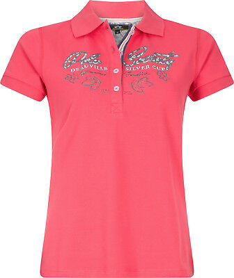 HV POLO Damen Polo-Shirt Brunelle raspberry Print + Lurex-Stickereien