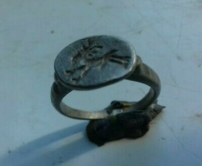 Late Roman Silver Seal Ring Depicting A Deer 400-500 Ad
