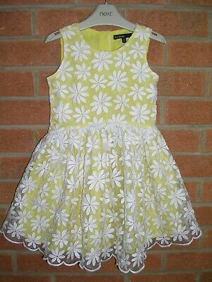 MARKS & SPENCER Girls Yellow Summer Dress Daisy Lace Age 2-3 98cm