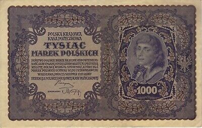 1919 1000 Marek Poland Polish Currency Large Banknote Note Money Bank Bill Cash