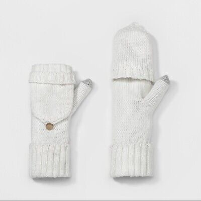 A New Day Women's Knit Flip-Top Mittens One Size White Cream