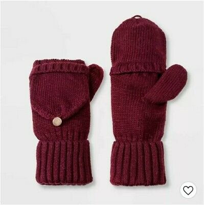 A New Day Women's Knit Flip-Top Mittens One Size Burgundy