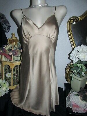VICTORIA'S SECRET 100% FINE SILK Taupe Chemise BABYDOLL Nightgown VTG MEDIUM M