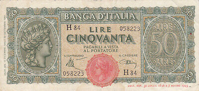 50 Lire Fine Banknote From Italy 1943 Pick-74
