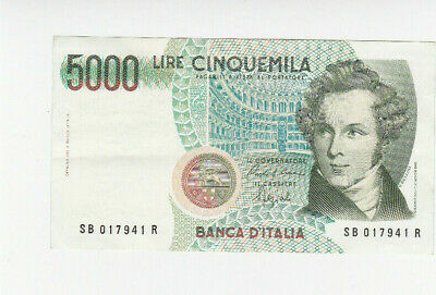 5000 Lire Very Fine Crispy Banknote From Italy 1985 Pick-111