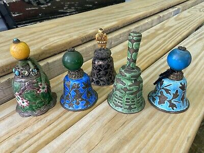 Group Of Antiqie Enamel Bells Japanese Chinese