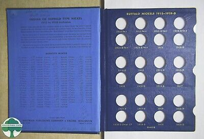 USED BUFFALO NICKELS WHITMAN ALBUM #9408 - 1913 to 1938 - NO COINS