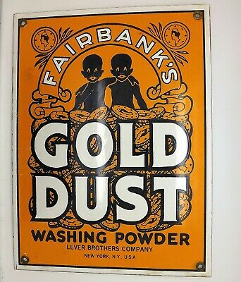 Antique Fairbanks Gold Dust Washing Powder Porcelain Sign New York USA
