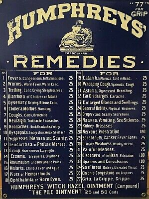 Vintage Apothecary Pharmacy Drugstore Humphries Homeopathic Metal Cabinet Sign