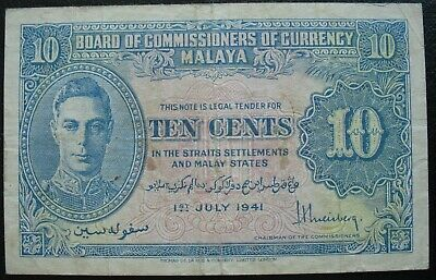Malaya 1941 10 Cents Note