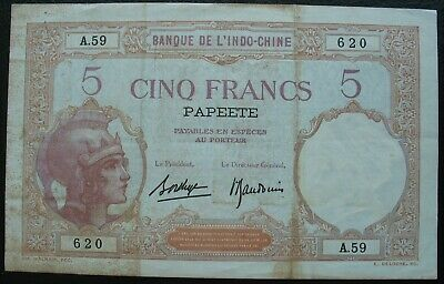 French Tahiti France -Papeete 1927 5 Francs Note
