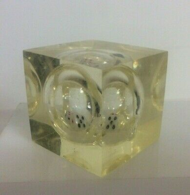 PIERRE GIRAUDON Inserted 2 x Dices In A Resin Lucite Cube Small Paperweight