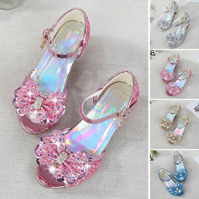 Kid Girl Baby Elastic Glitters Sequined Open Toe Mid Block Buckled Party Sandals