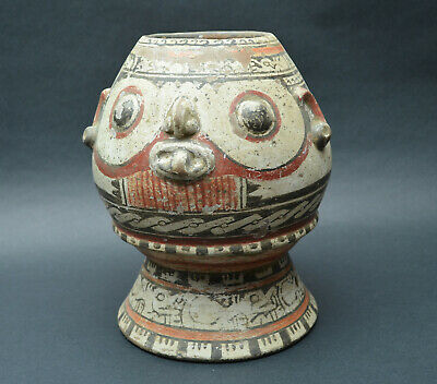 Rare Authentic Pre Columbian Nicoya Costa Rica Face Pottery Pot Jug Antique