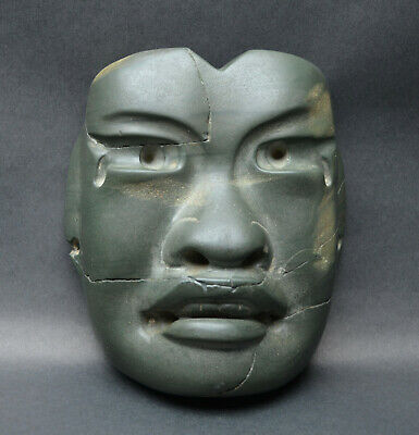 Authentic Pre Columbian Olmec Green Stone Mask Mexico. Ca. 400 BC