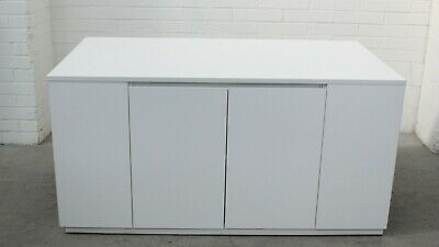 Office/Home/Craft Workbench with 2 Doors and 2 Storage Ends White Melamine