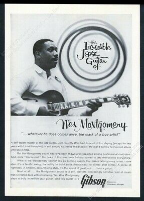 1962 Wes Montgomery photo Gibson guitar vintage print ad