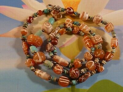 Ancient Persian-Kushan Pyu Etched Agate Carnelian Bead Necklace 18 Inches Wow