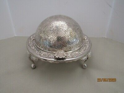 Vintage Silver Plated Chased Roll Top Butter Dish Made In England