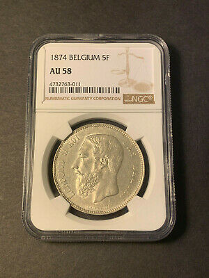 Belgium 5 Francs 1874 Leopold II silver almost uncirculated NGC AU58