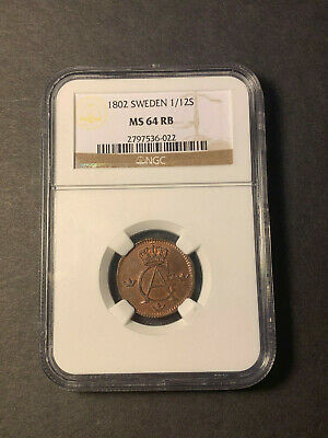 Sweden 1/12 skilling 1802 uncirculated with much red lustre NGC MS64 RB