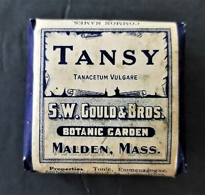 1910 antique TANSY herb QUACK MED homeopathic HYSTERIA EXPULSION WORMS malden ma