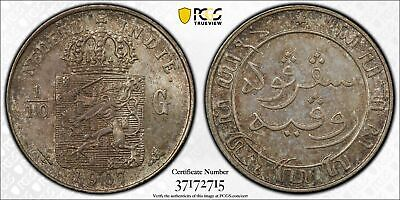 Netherlands East Indies 1/10 gulden 1907 toned uncirculated HIGH GRADE PCGS MS64