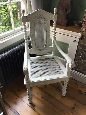 Gothic 1940s revival ornate High back ,carved cane and wood throne chair Ivory