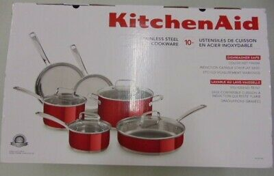 KitchenAid KC2SS10PC Stainless Steel Cookware 10 Pieces - Red New Sale Free Ship
