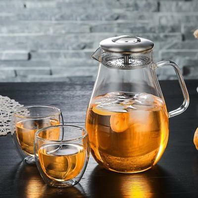 Glass Pitcher 1.9L Jug Water Juice Carafe Cocktail Tea with Stainless Steel Lid