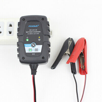 6V/12V 1A Fully Automatic Smart Battery Charger Maintainer for AGM Wet Lead-acid