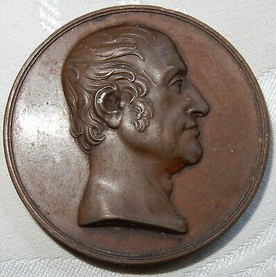 ANTIQUE BRONZE MEDAL - FRANCIS HENRY EGERTON EARL OF BRIDGEWATER - 40 mm