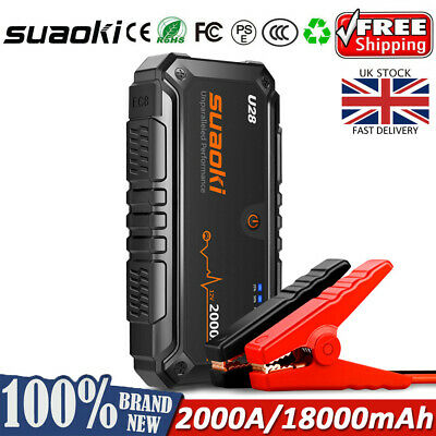 Suaoki 2000A Portable Car Jump Starter Emergency LED Power Bank Charger 10L Gas