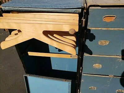 Vintage Wheary Steamer Wardrobe Trunk With Hangers