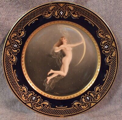 """19th c. ROYAL VIENNA PORCELAIN NUDE PORTRAIT PLATE SIGNED HEER """"DIANA"""""""