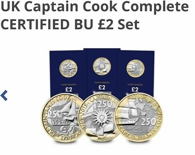 2018 UK Captain Cook £2 pound coins 2018 2019 2020 BU Set Sealed Cards SOLD OUT!
