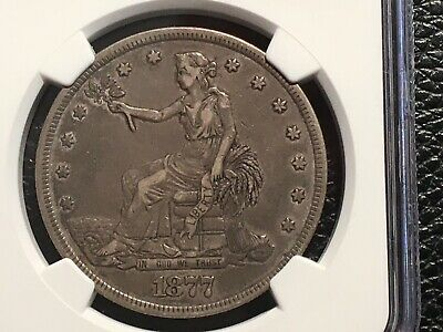 1877 Trade Dollar NGC Xf 40 Nice Evenly Circulated