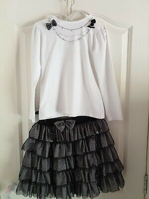 Sarah Louise Girls Long Sleeve White Top & Puff Skirt Party Set Outfit Age 8