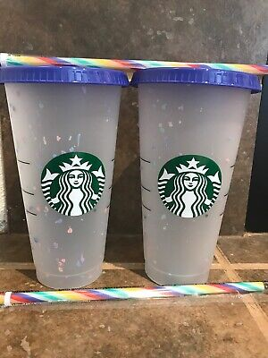 2020 Summer Starbucks 2x Reusable Confetti Color Changing 24oz Frosted Cold Cup