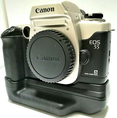 Canon EOS 55 SLR Film Camera Body BP-50 Battery Pack [ N.MINT+++++ /SUPER CLEAN]