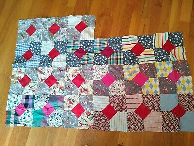 VINTAGE PARTIAL QUILT TOP FEEDSACK + COTTON  BOW TIE  43x21+ SOME CUTE NOVELTY