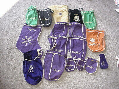 HUGE LOT 17 CROWN ROYAL Drawstring BAGS Assorted Sizes~Styles~Colors~Materials