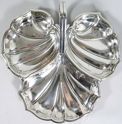 Wallingford Silverplate Serving Leaf Tray Divided Dish Appetizers Shellfish