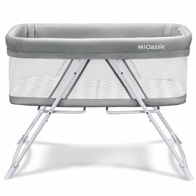 MiClassic 2 in 1 Stationary & Rock Bassinet Fold Travel Crib Portable (3B)