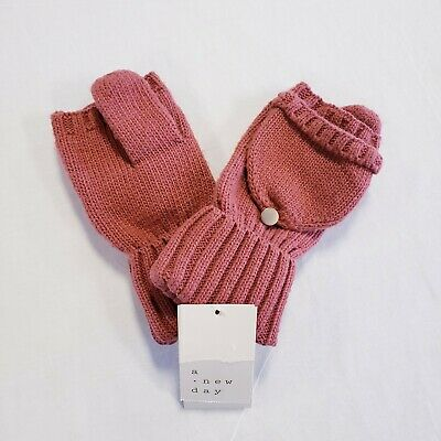 A New Day Women's Knit Flip-Top Mittens One Size Rose Pink Blush