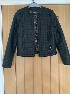 Girls Faux Black Leather Jacket Age 10-11