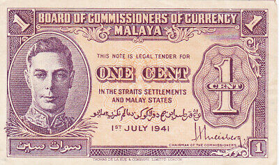 1 Cent Very Fine Banknote From British Colony Of Malaya 1941 Pick-6